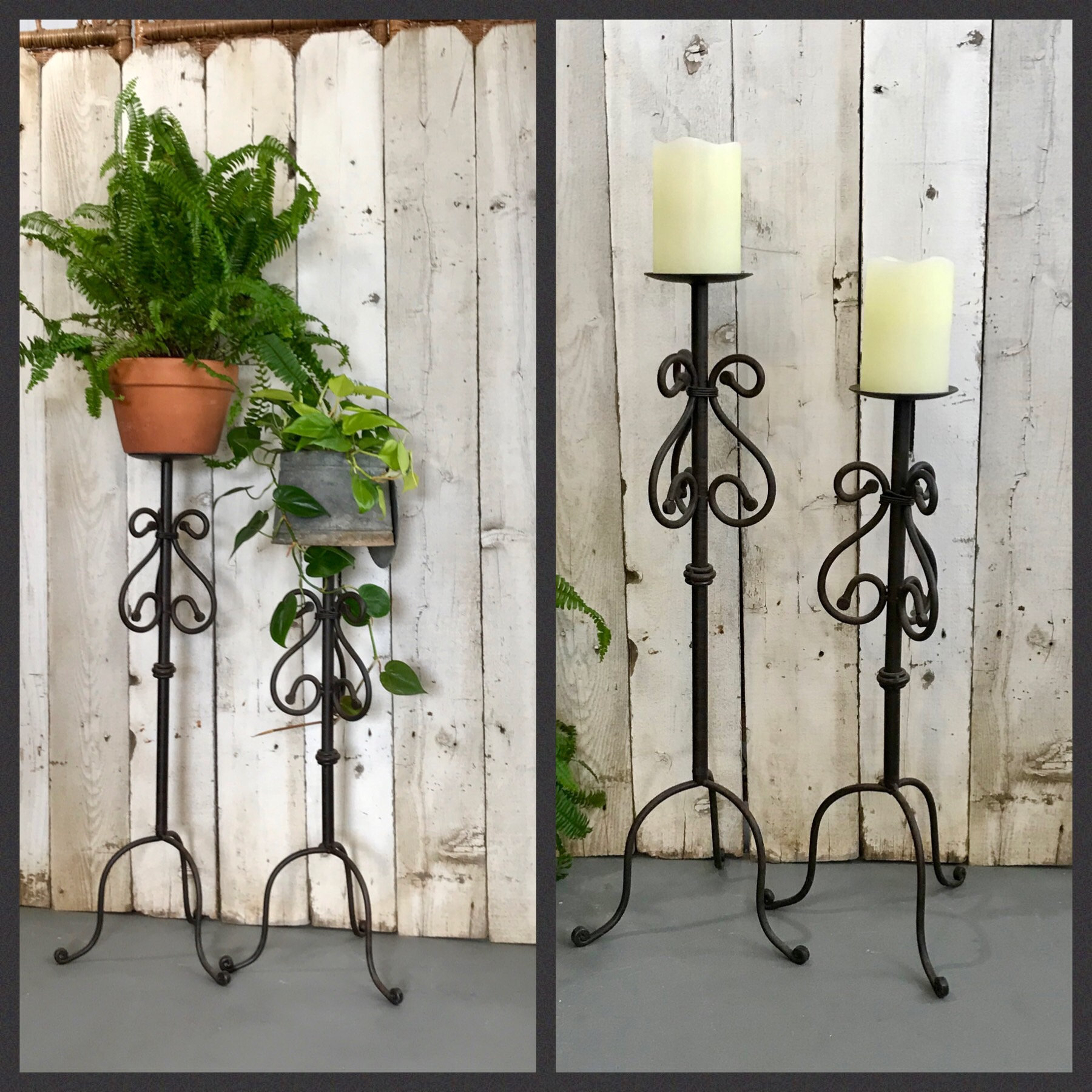 Tall Wrought Iron Pillar Candle Holder Set Of 2, 32X12 And 27X12, Tall  Metal Floor Candle Stands, Iron Plant Stand Set, Metal Plant Holders intended for Wrought Iron Calendar Holder