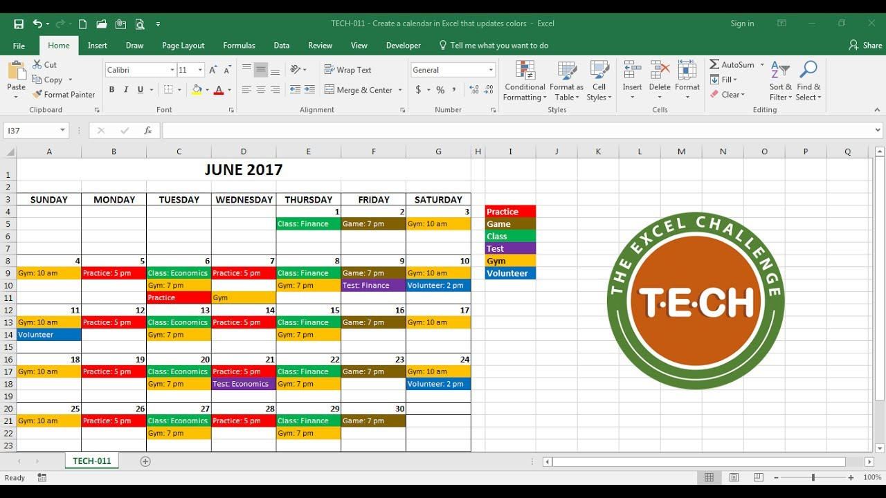 Tech011  Create A Calendar In Excel That Automatically Updates Colors By  Event Category within Event Calendar Template Excel