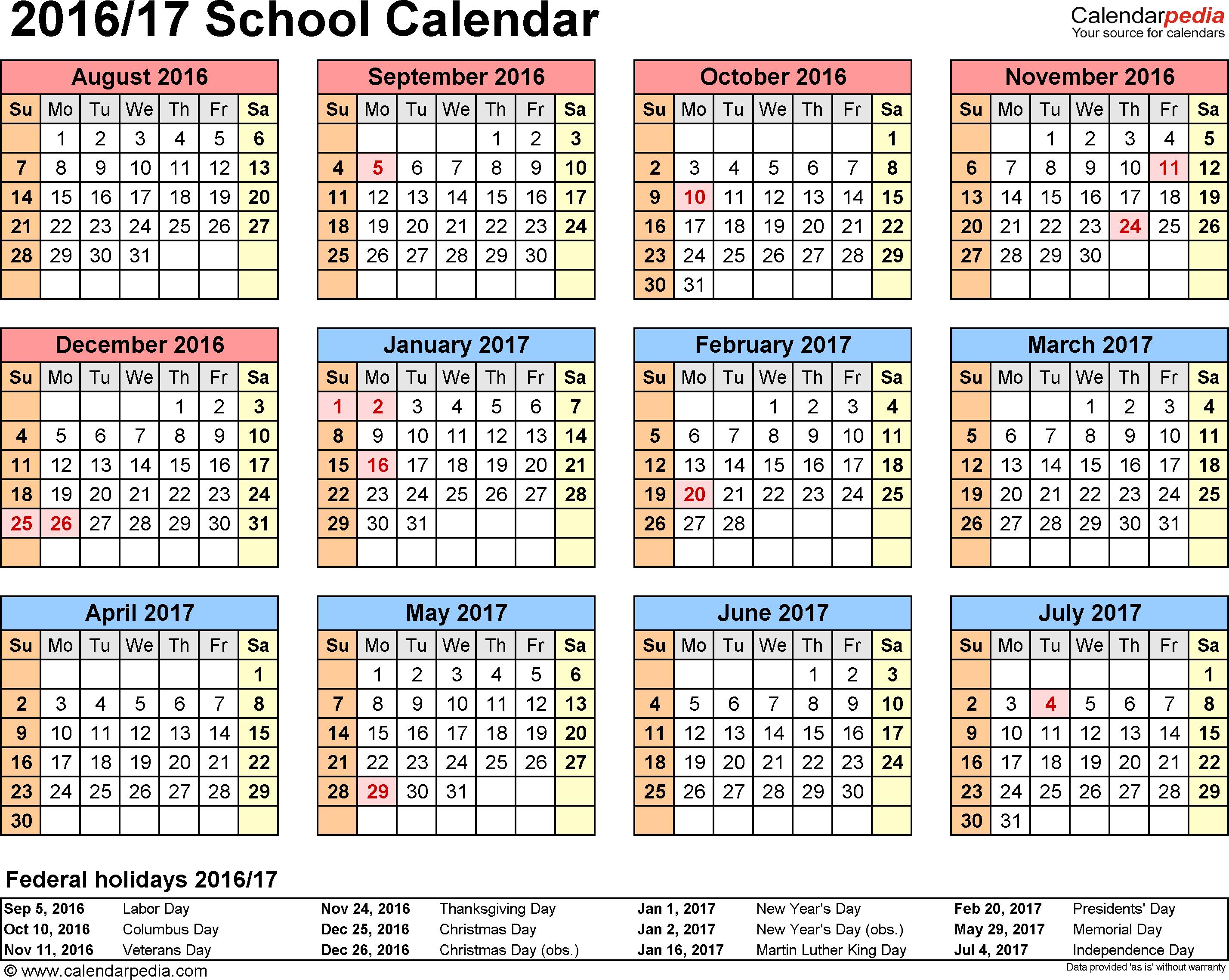 Template 4: School Calendar 201617 For Word, Landscape with regard to 2017 School Calendar South Africa