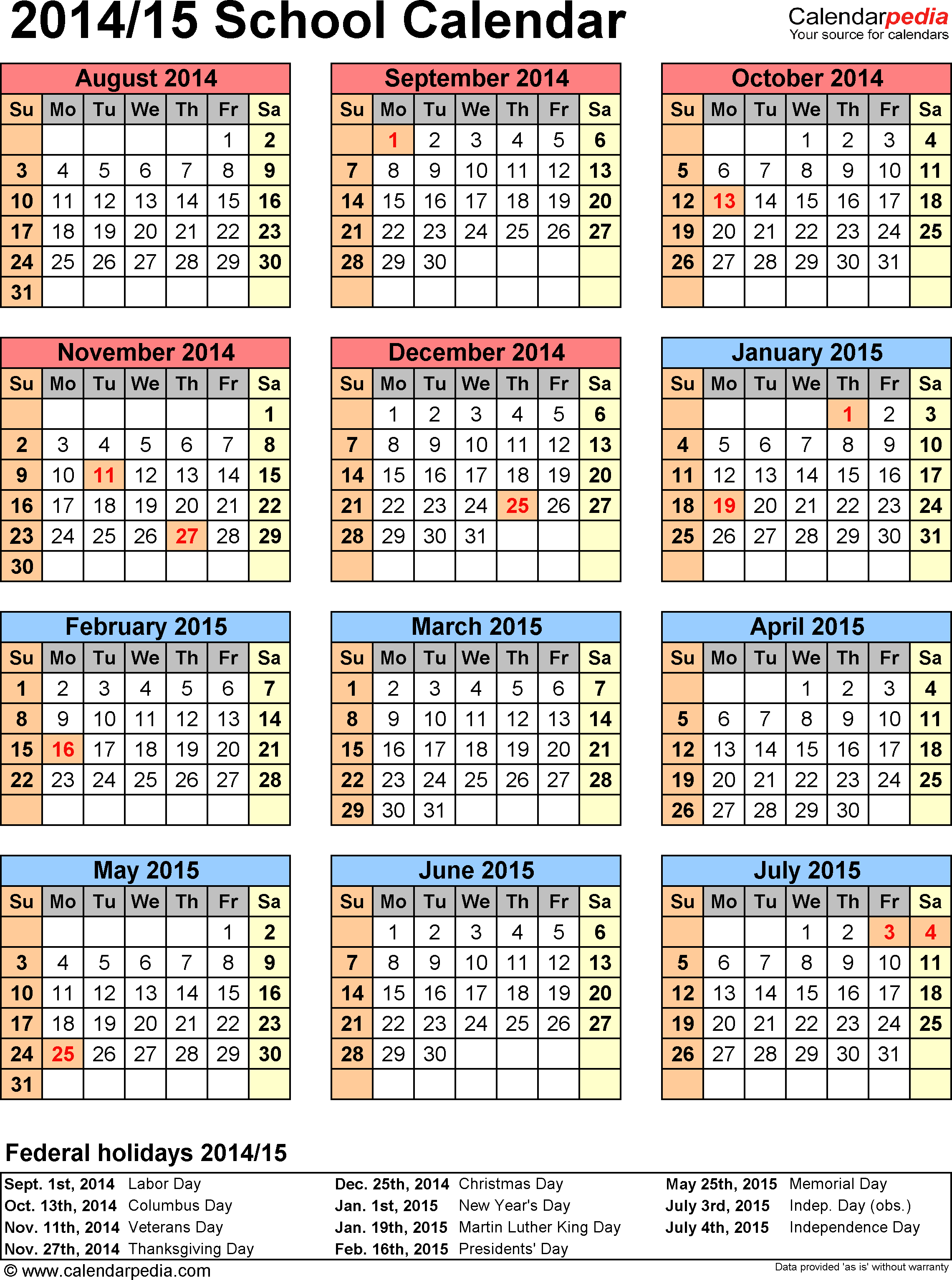Template 6: School Calendar 201415 For Pdf, Portrait regarding Blank Calendar 2014