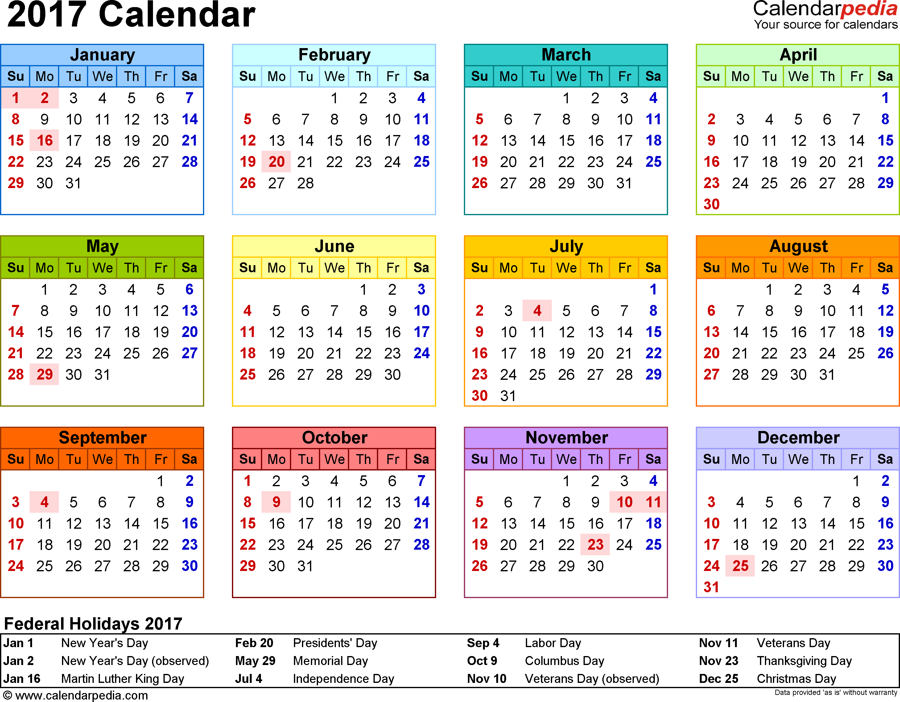 Template 8: 2017 Calendar For Word, Year At A Glance, 1 Page in National Day Calendar At A Glance