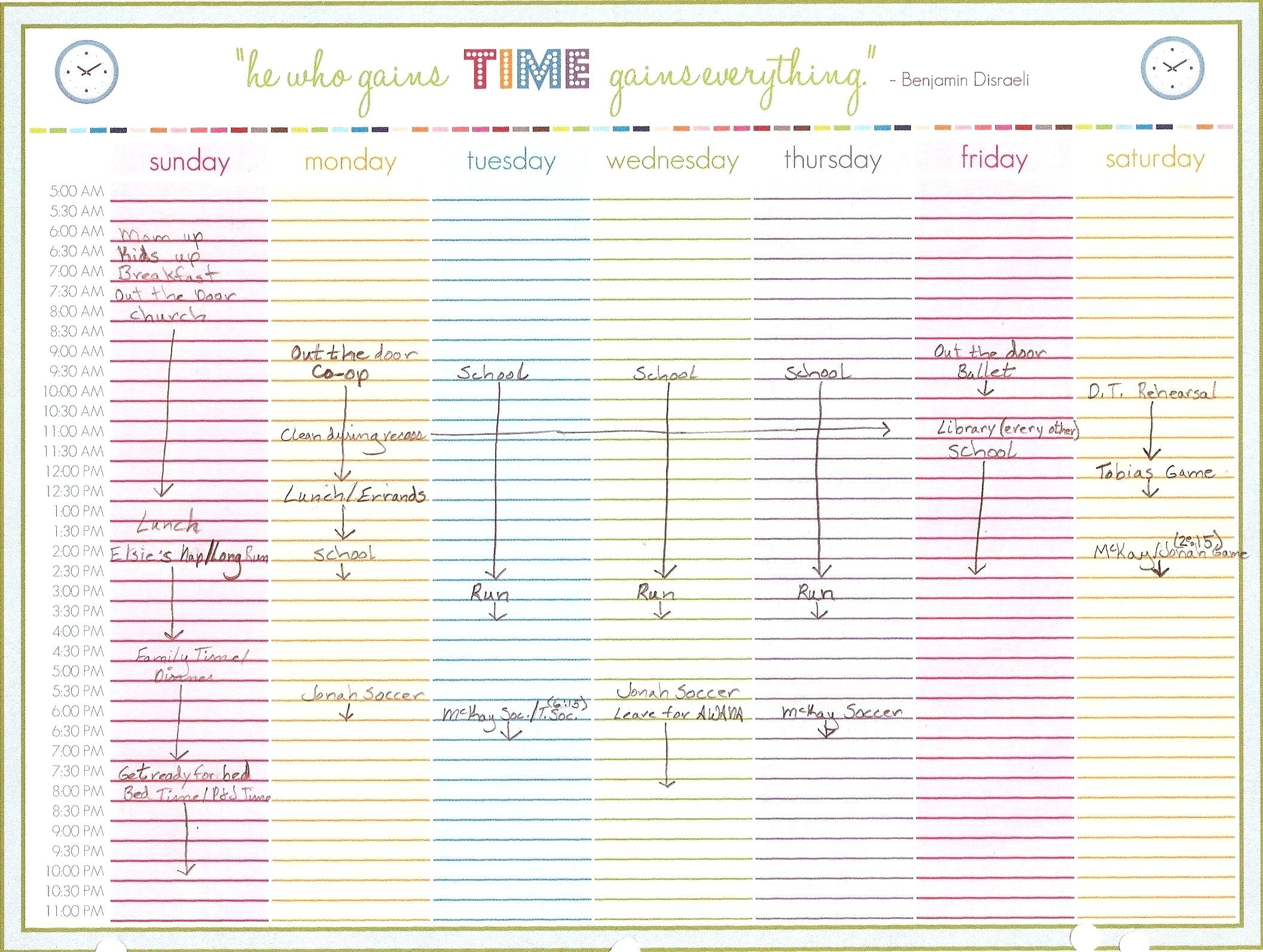 Template Weekly Calendar – Uppage.co in Daily Planner With Time Slots
