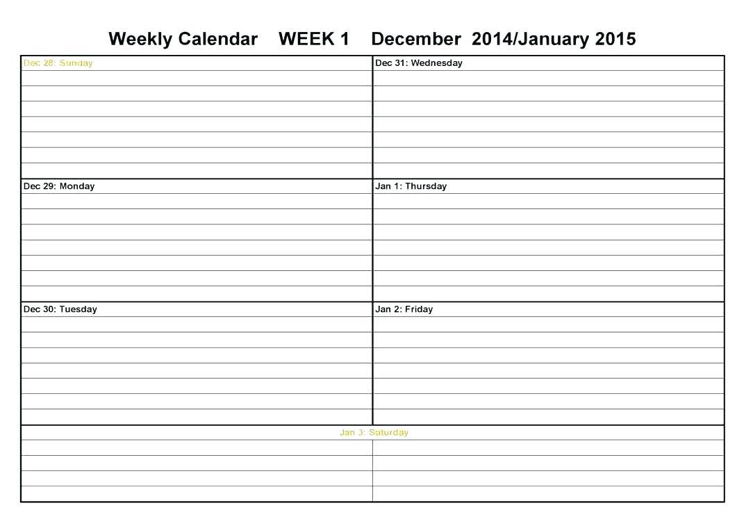 Template Weekly Calendar – Uppage.co throughout Printable Two Week Calendar Template
