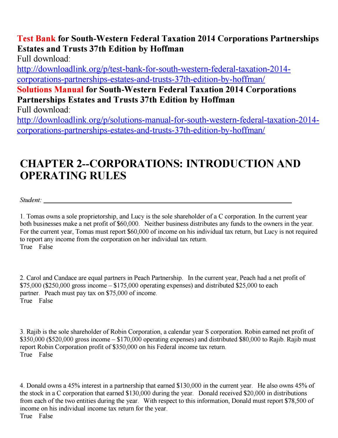 Test Bank For South Western Federal Taxation 2014 with Emerald Corporation A Calendar Year C Corporation