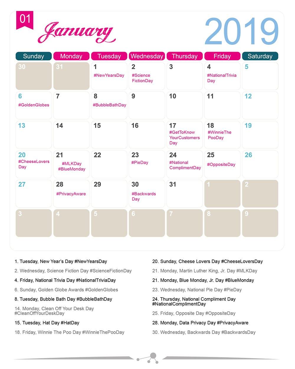 The 2020 Social Media Holiday Calendar  Make A Website Hub inside National Food Days 2020