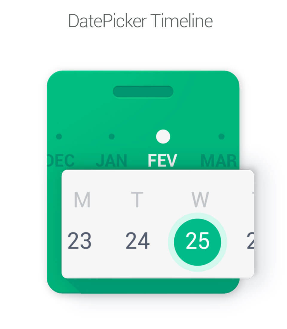The Android Arsenal  Date & Time Pickers  Datepicker Timeline within Android Arsenal Calendar
