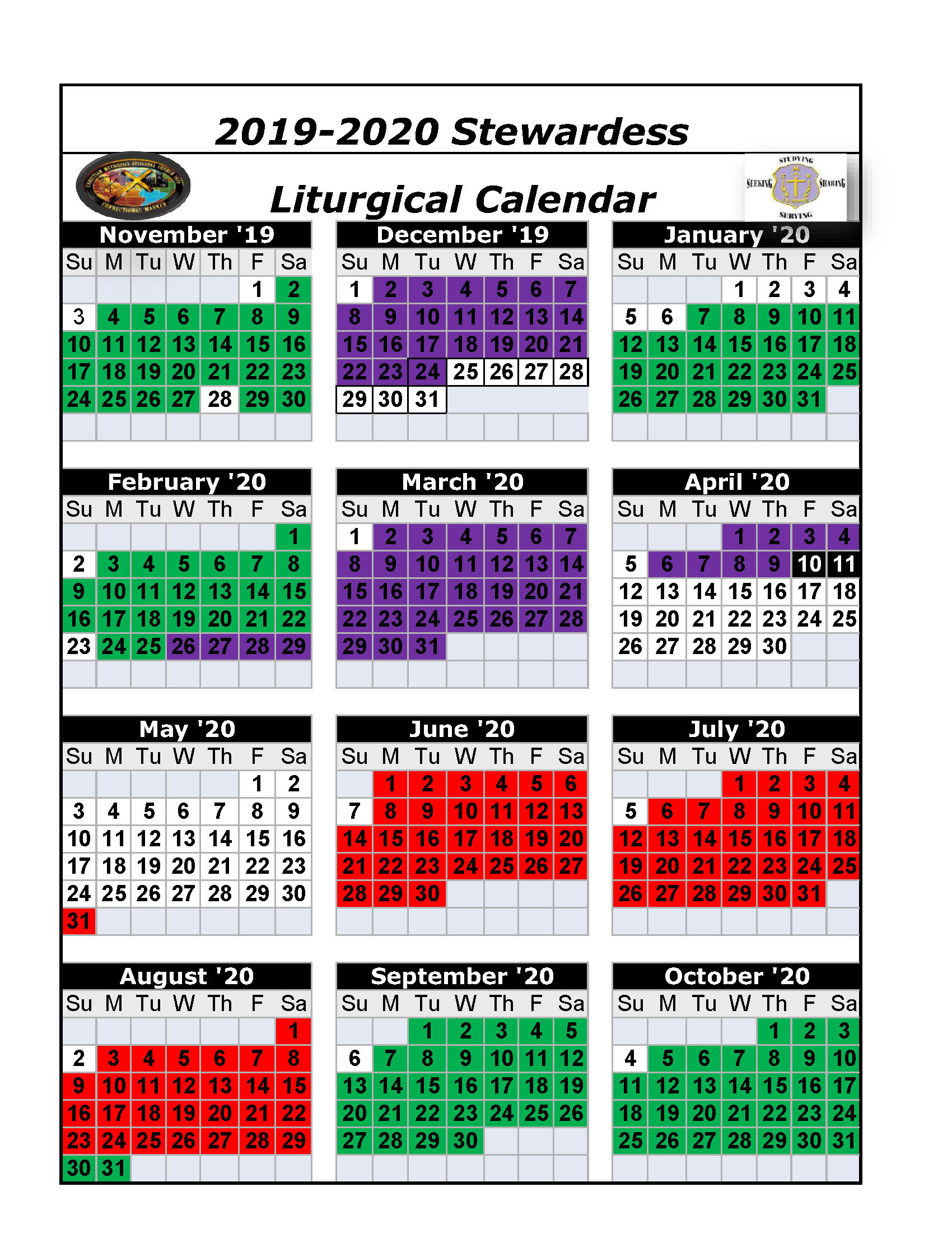 The Christian Methodist Episcopal Church in Liturgical Calendar 2020 Printable