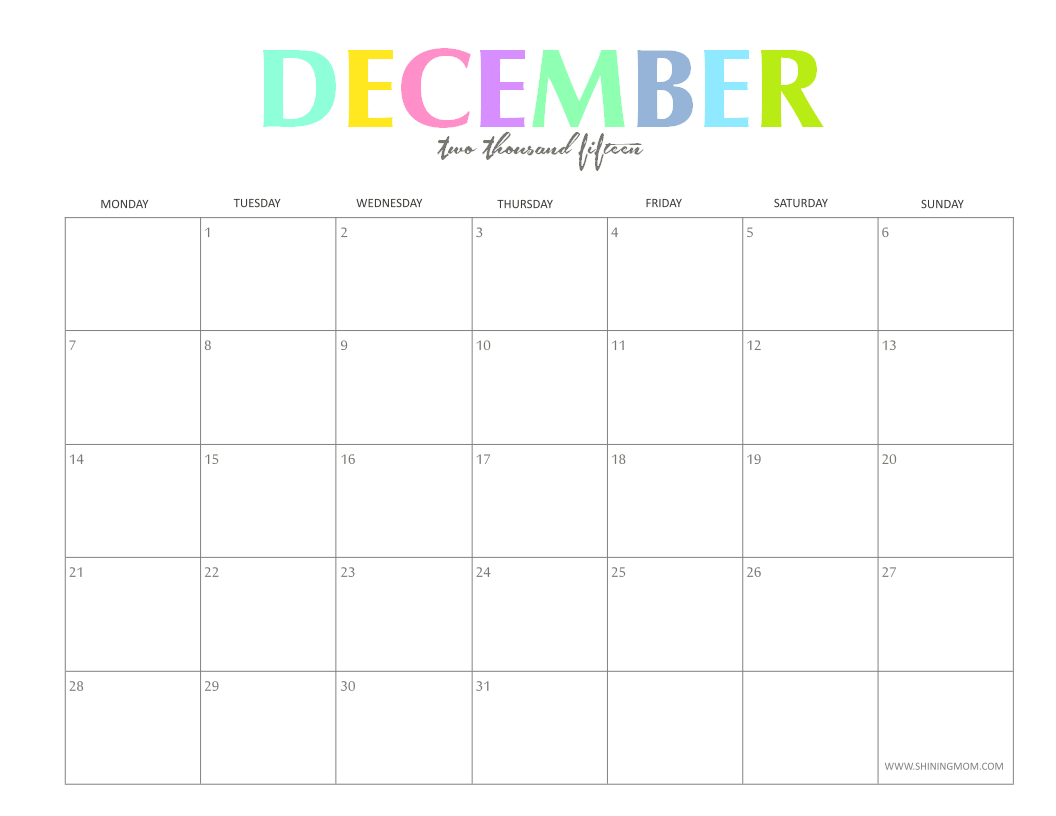 The Colorful 2015 Monthly Calendars By Shiningmom Are Here! throughout December 2015 Calendar Printable