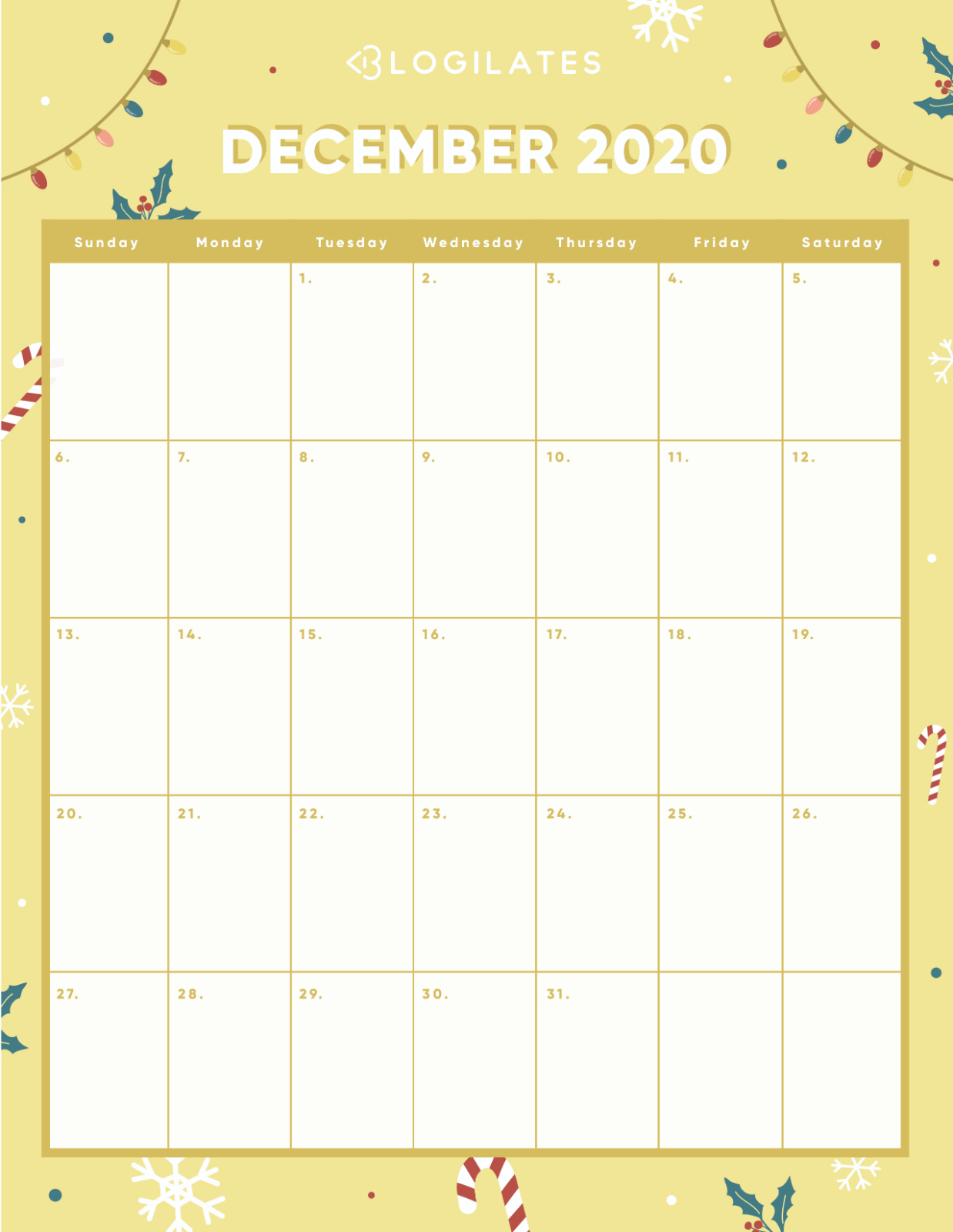 The Cutest 2020 Printable Calendars *free* – Blogilates with regard to Blogilates December 2020 Calendar