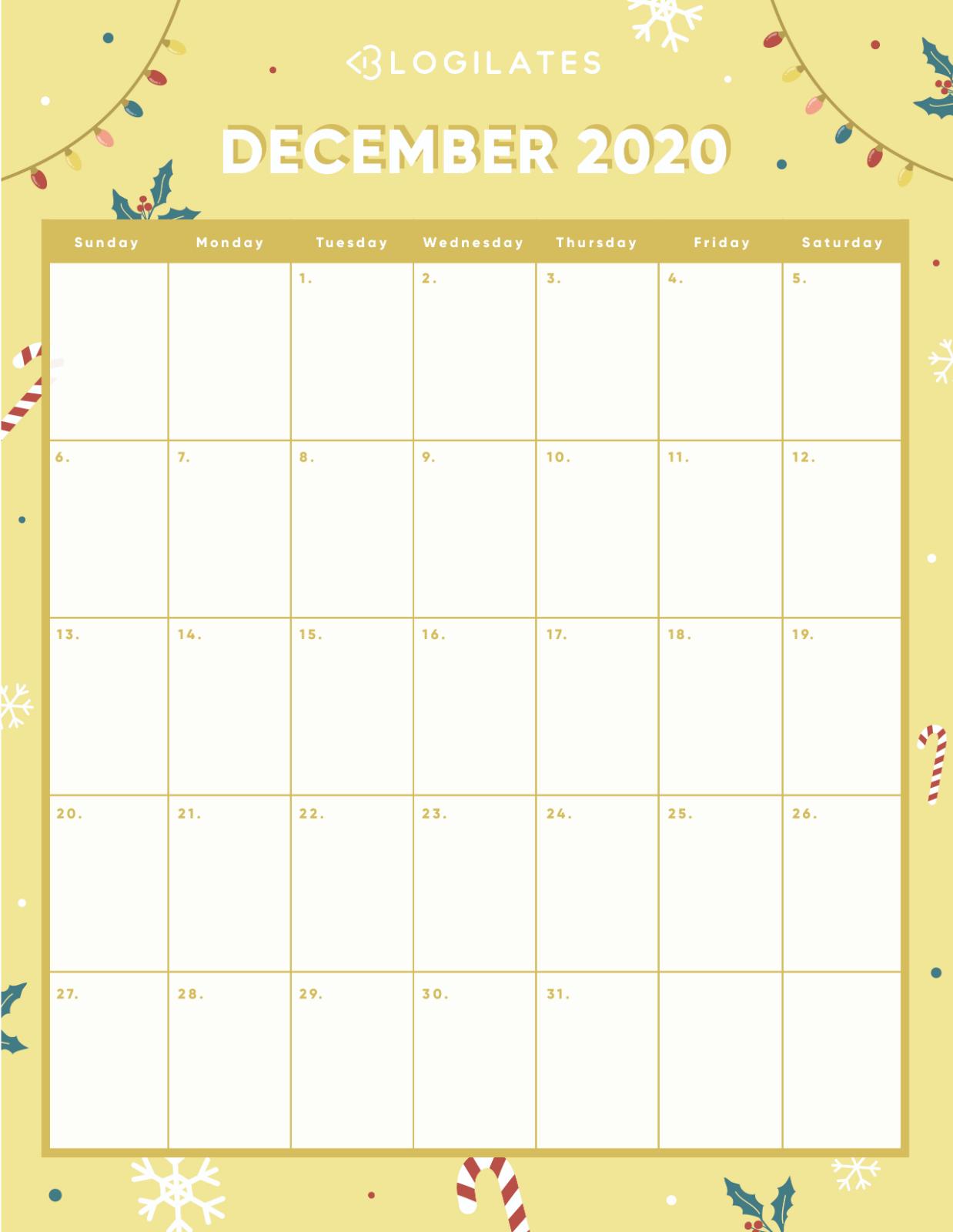 The Cutest 2020 Printable Calendars *free* – Blogilates with regard to Blogilates December 2020 Calendar