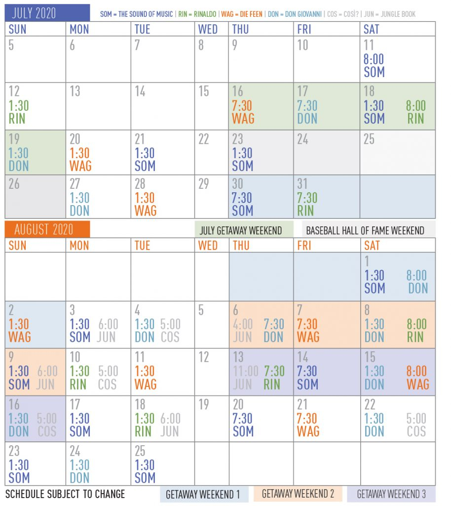 The Glimmerglass Festival Announces 2020 Season | The in 1998 Calendar With Festivals