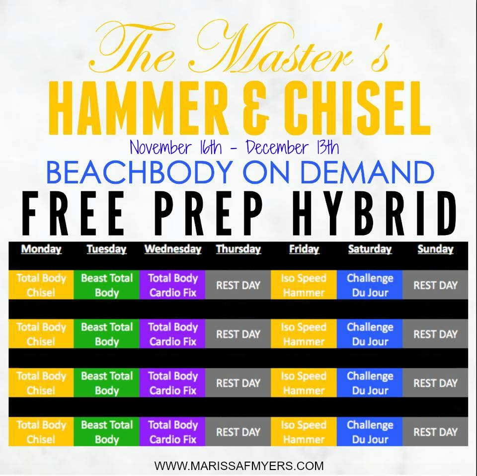 The Master's Hammer And Chisel Prep Hybird Challenge inside 21 Day Fix Hybrid Calendar