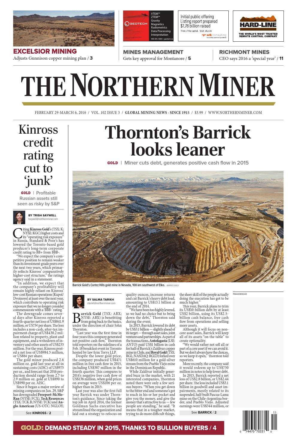 The Northern Miner February 29March 6, 2016 By The Northern in Zinco Corp Was A Calendar Year S Corporation