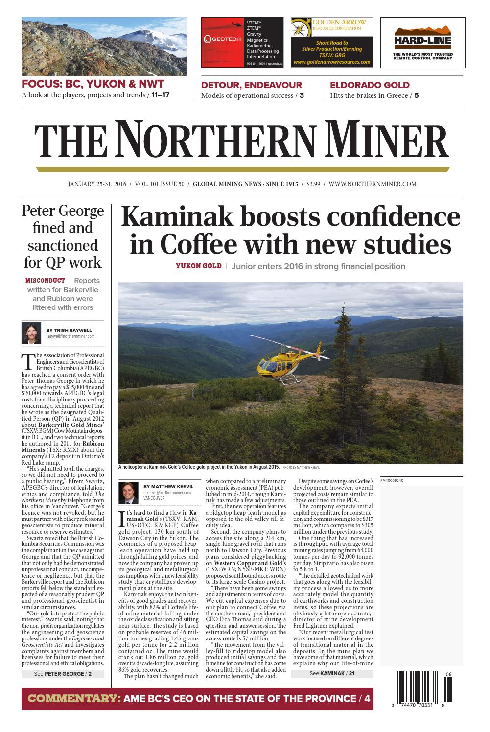 The Northern Miner January 25January 31, 2016 By The inside Zinco Corp Was A Calendar Year S Corporation