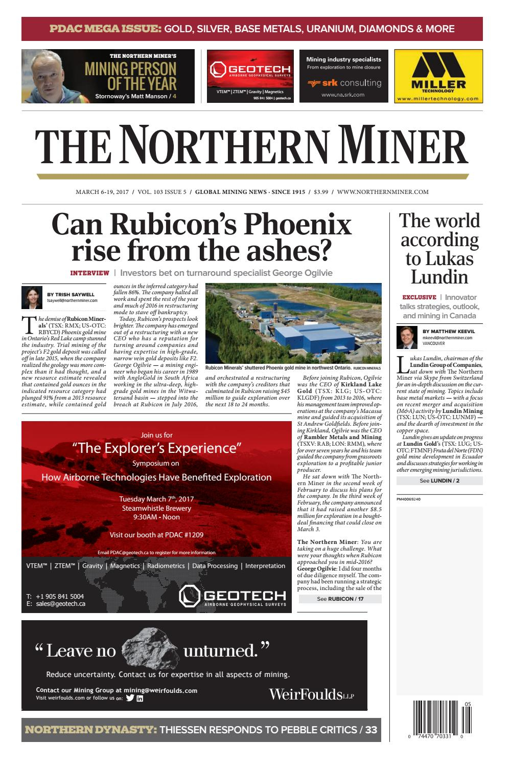 The Northern Miner March 6 2017 Issue By The Northern Miner inside Zinco Corp Was A Calendar Year S Corporation