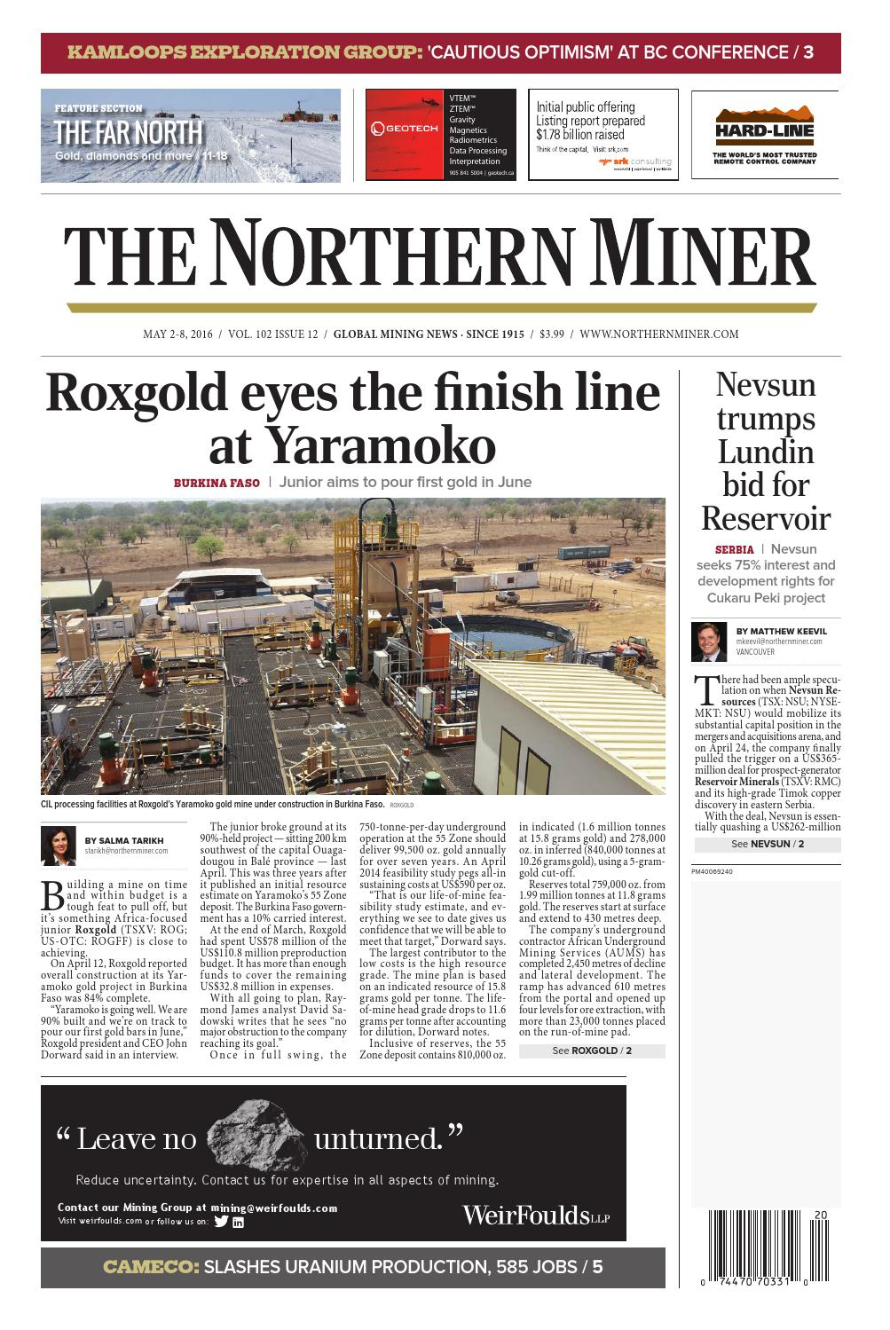 The Northern Miner May 2, 2016 Issue By The Northern Miner regarding Zinco Corp Was A Calendar Year S Corporation