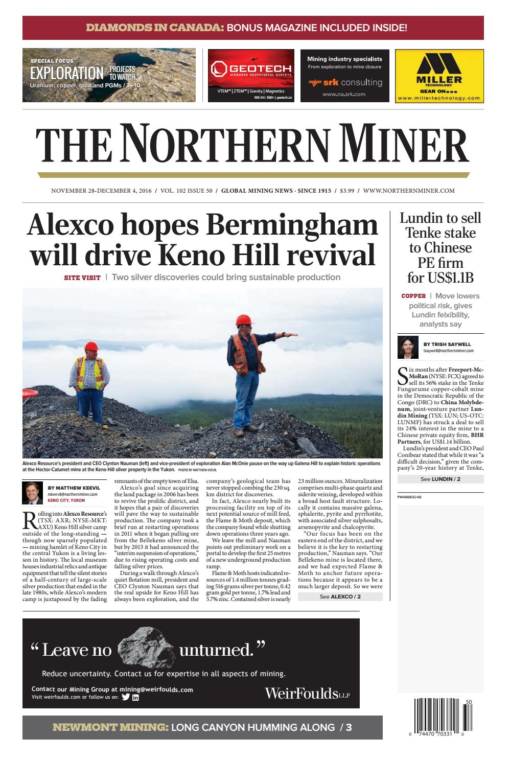 The Northern Miner November 28 2016 Issue 42 By The Northern intended for Zinco Corp Was A Calendar Year S Corporation
