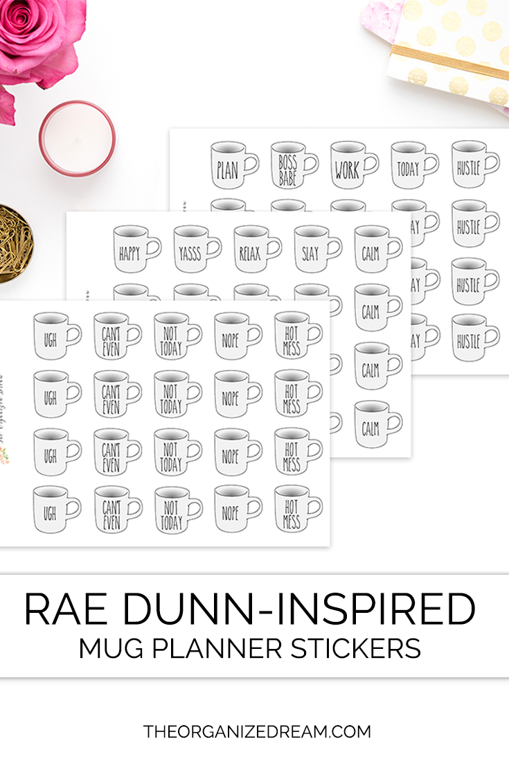 The Organized Dream: Rae Dunninspired Mug Planner Stickers within Rae Dunn Printable Calendar