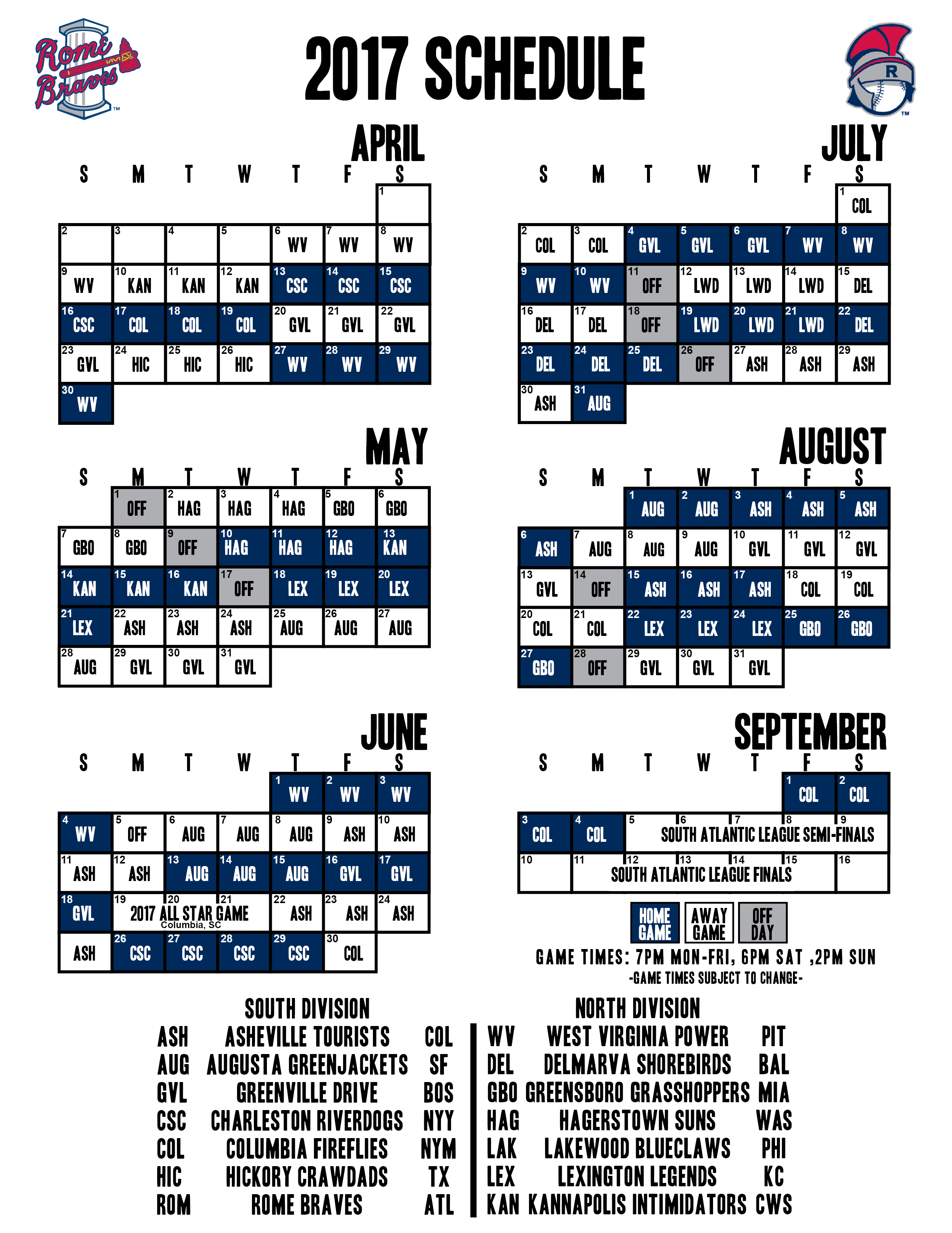 The Rome Braves Release The 2017 Schedule | Rome Braves News throughout Atlanta Braves Schedule 2020 Printable