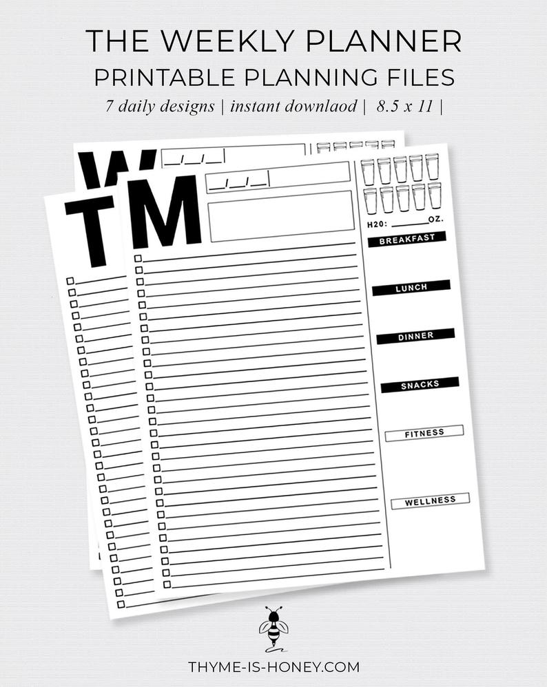 The Weekly Planner Digital Files in 7 Days A Week Planner