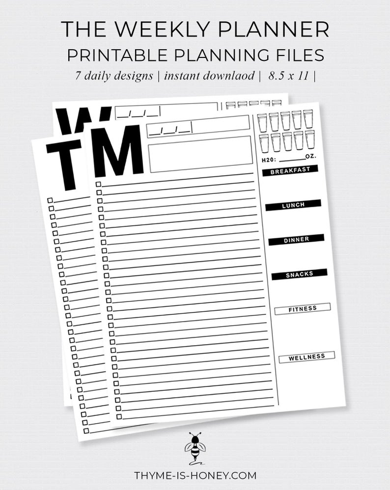 The Weekly Planner Digital Files within 5 Days A Week Planner