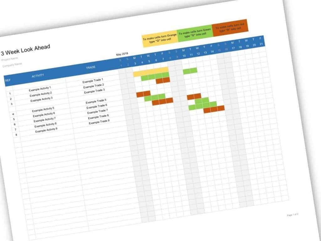 Three Week Look Ahead Schedule Template  Construction for Look Ahead Schedule Template
