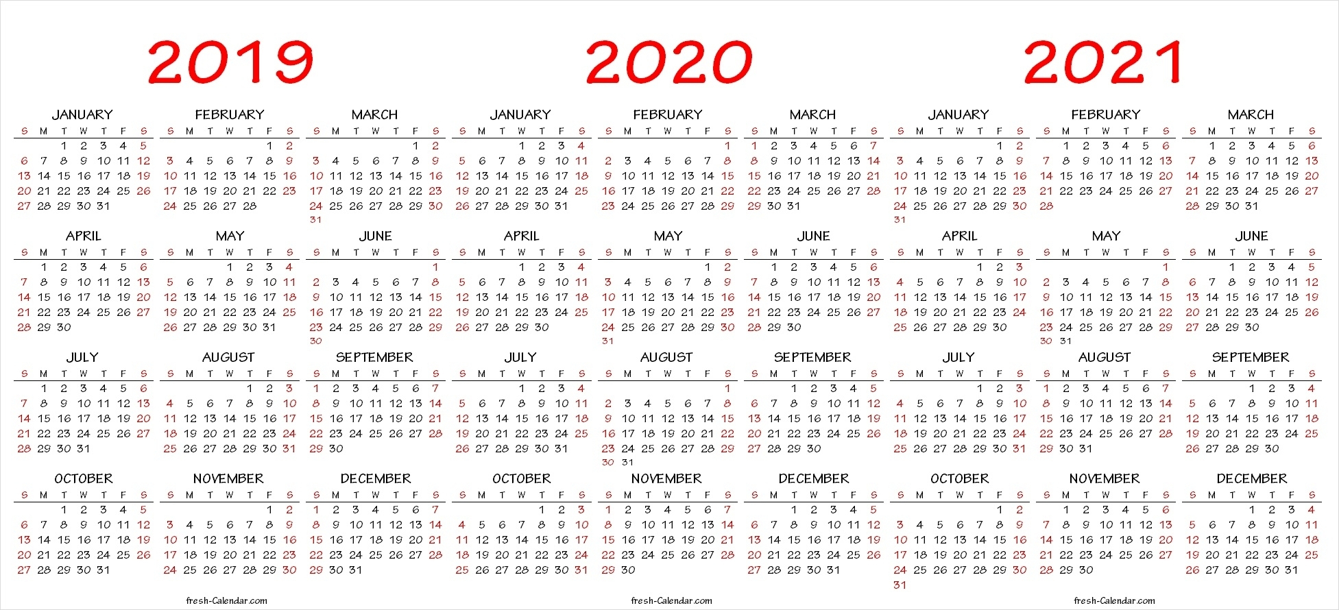 Three Year Calendar Template for 3 Year Calendar 2020 To 2021 Printable