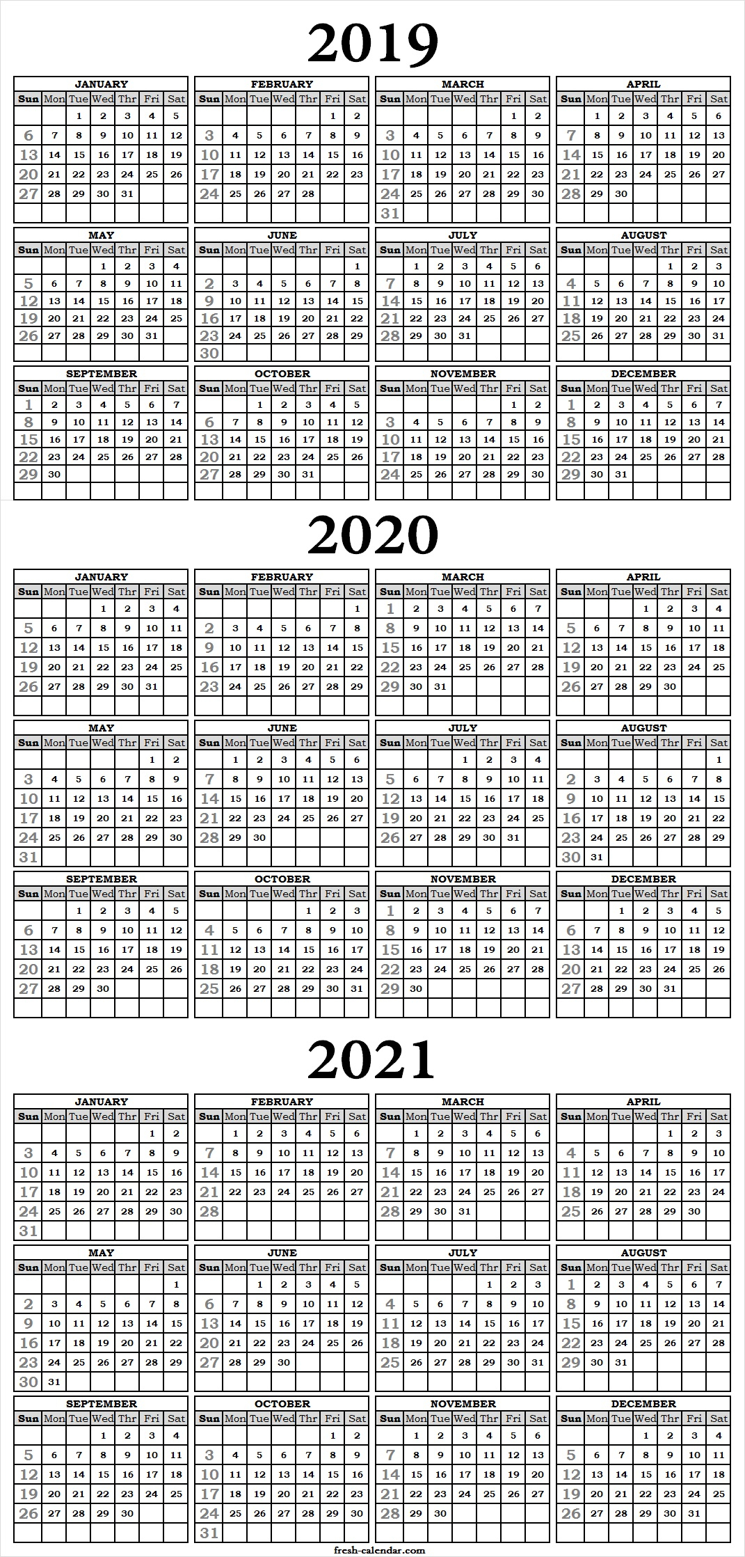 Three Yearly Calendar 2019 2020 2021 Printable Free | Blank inside 3 Year Calendar 2020 To 2021 Printable