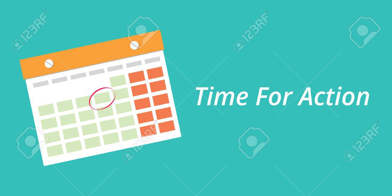 Time For Action Concept With A Calendar Blue Background Vector.. inside Time And Action Calendar