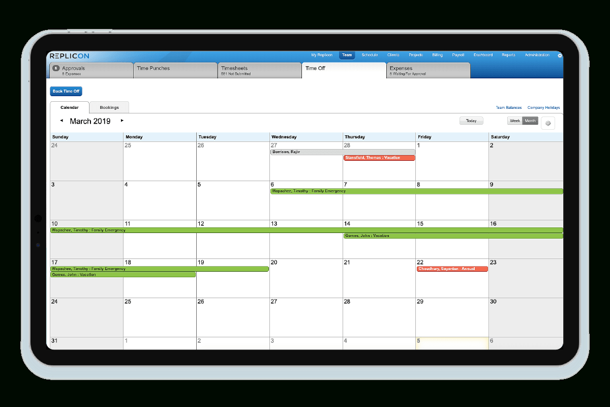 Time Off Software | Time Off Tracker | Employee Time Clock within Employee Vacation Tracking Calendar