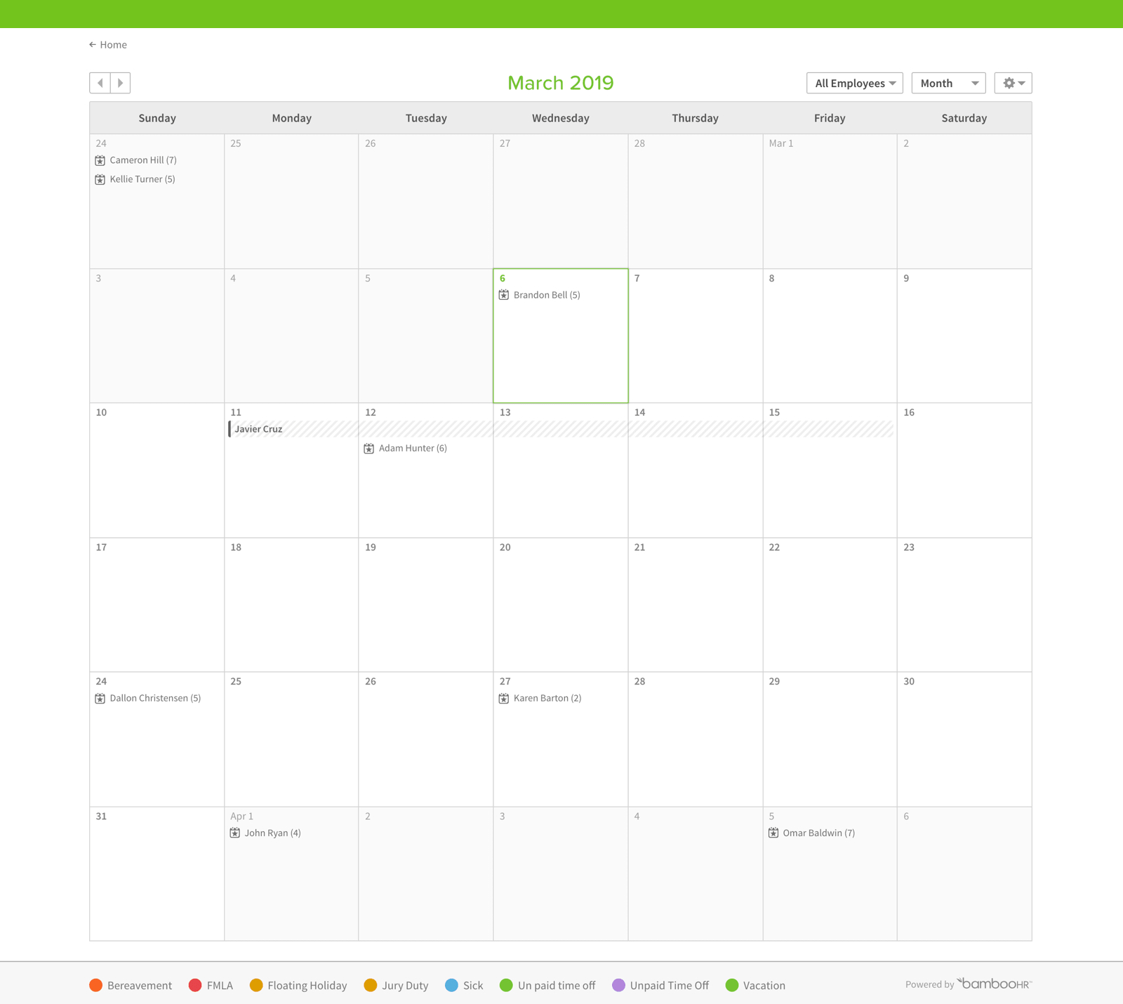 Timeoff Management Software in Pto Tracking Calendar