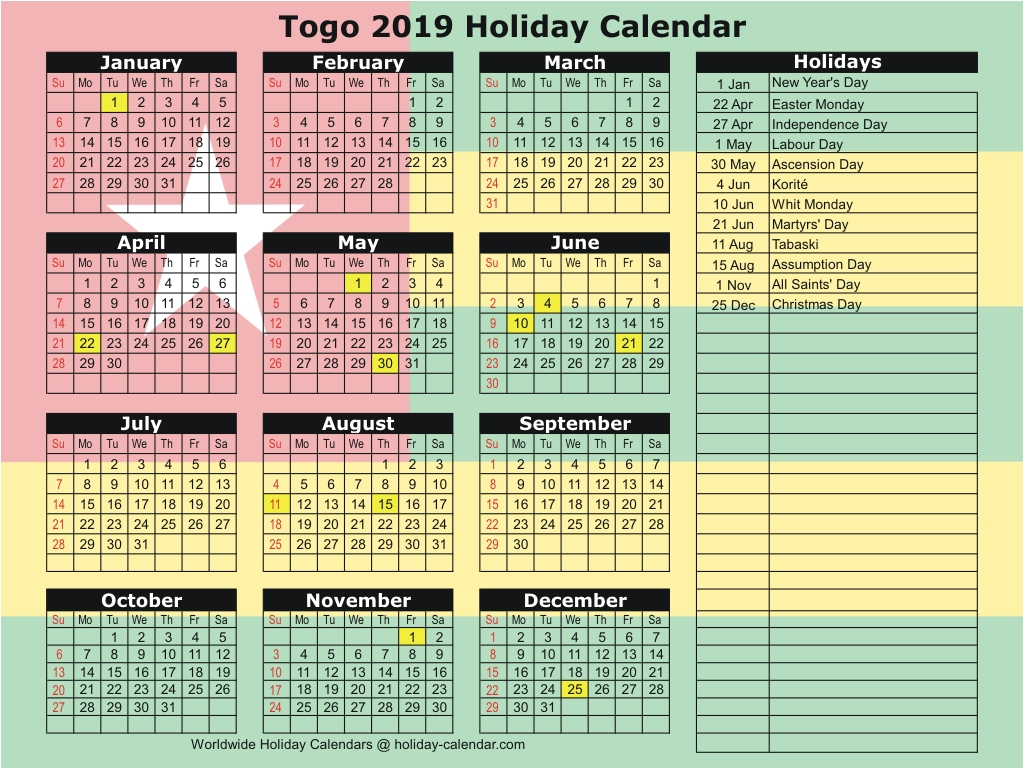 Togo 2019  2020 Holiday Calendar in Mauritius School Calendar 2020