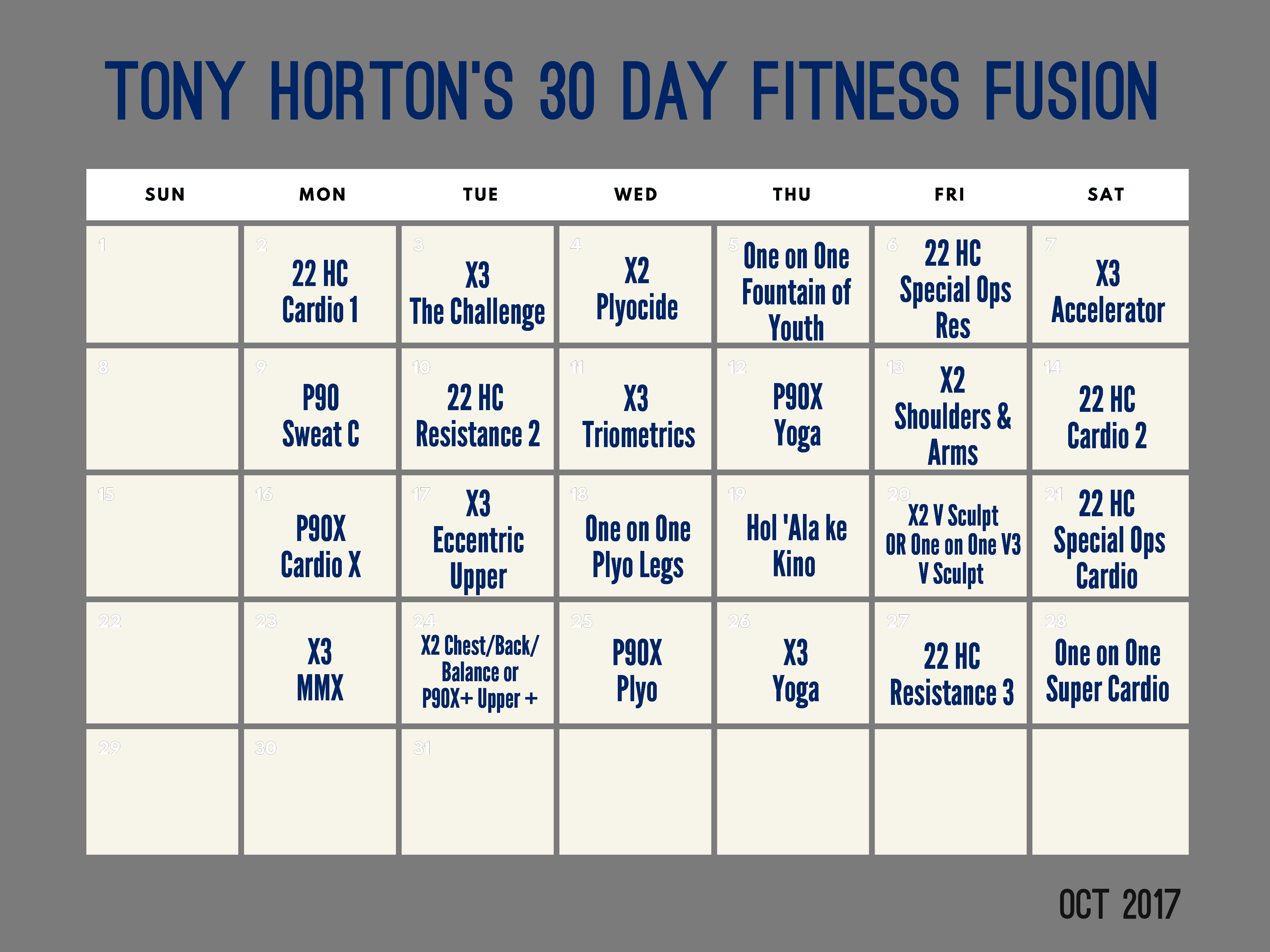 Tony Horton's 30 Day Fitness Fusion  Teamripped for 21 Day Fix Hybrid Calendar