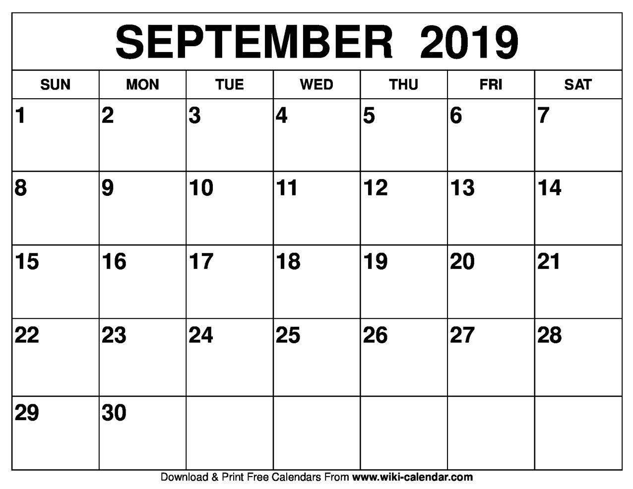 Top 5 Day Calendar September 2019 — Unique Table Calendar with Printable 5 Day Calendar