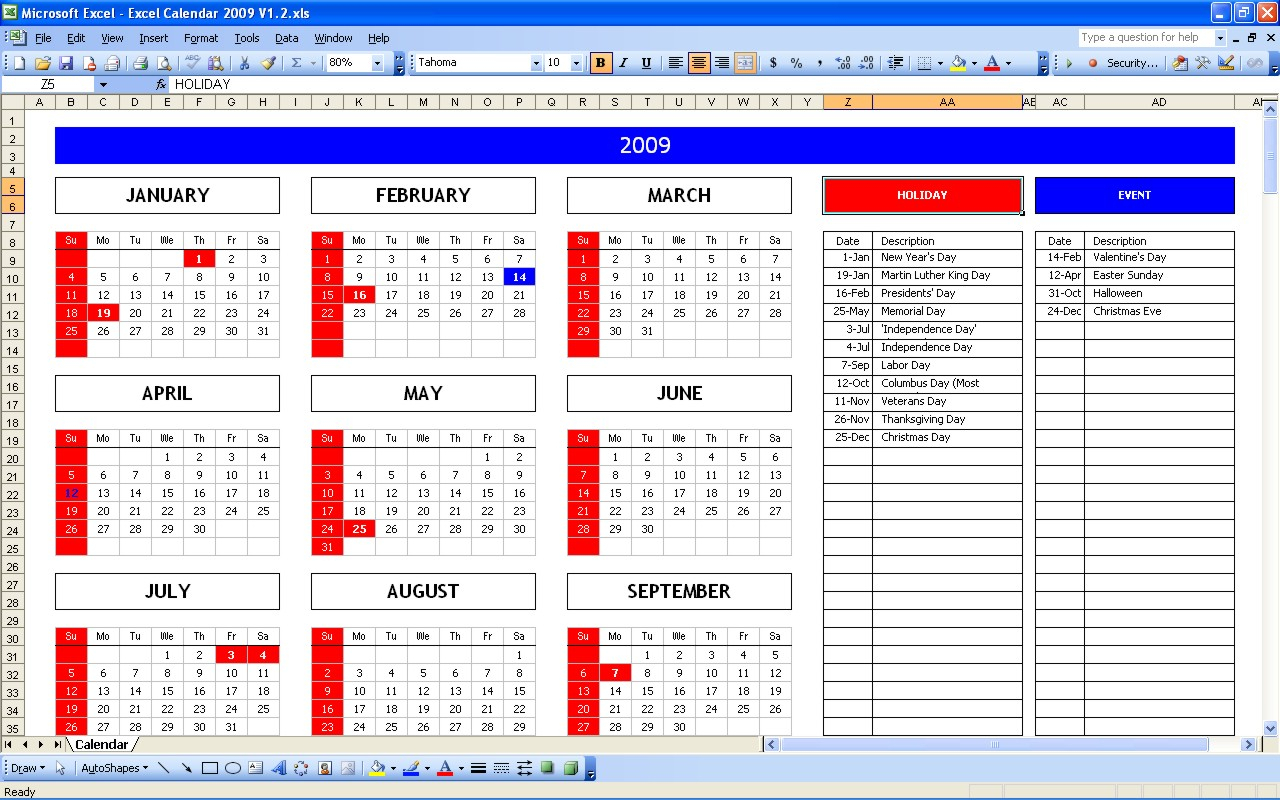 Top 5 Excel Yearly Calendar  Excel Spreadsheet intended for Perpetual Calendar Excel