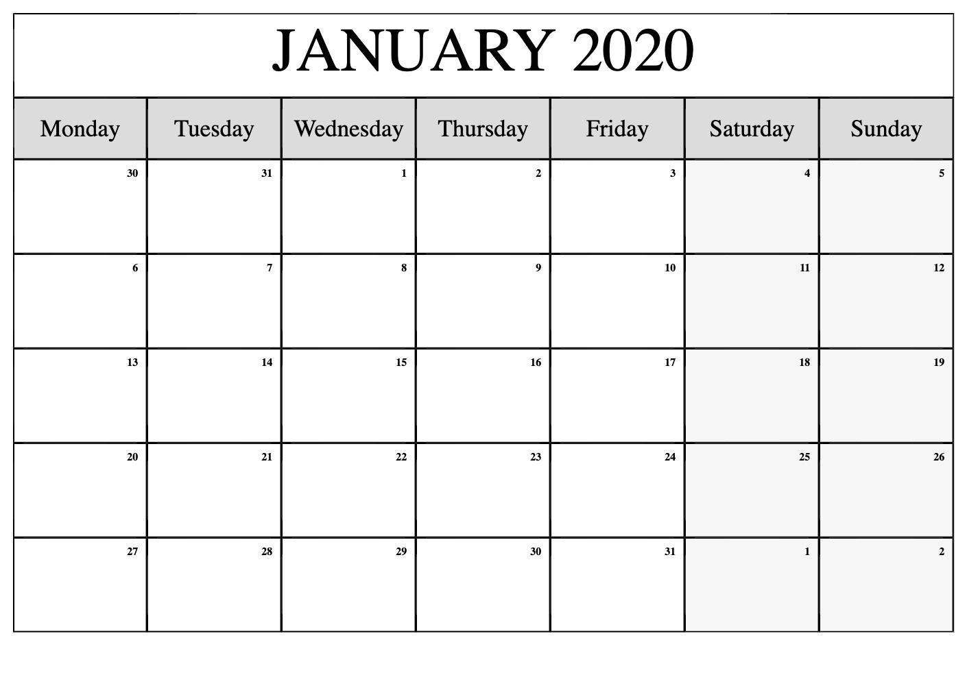 Top Blank January 2020 Holiday Print Free Calendar for Wincalendar January 2020