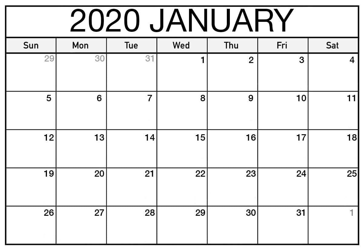Top Blank January 2020 Holiday Print Free Calendar inside Wincalendar January 2020