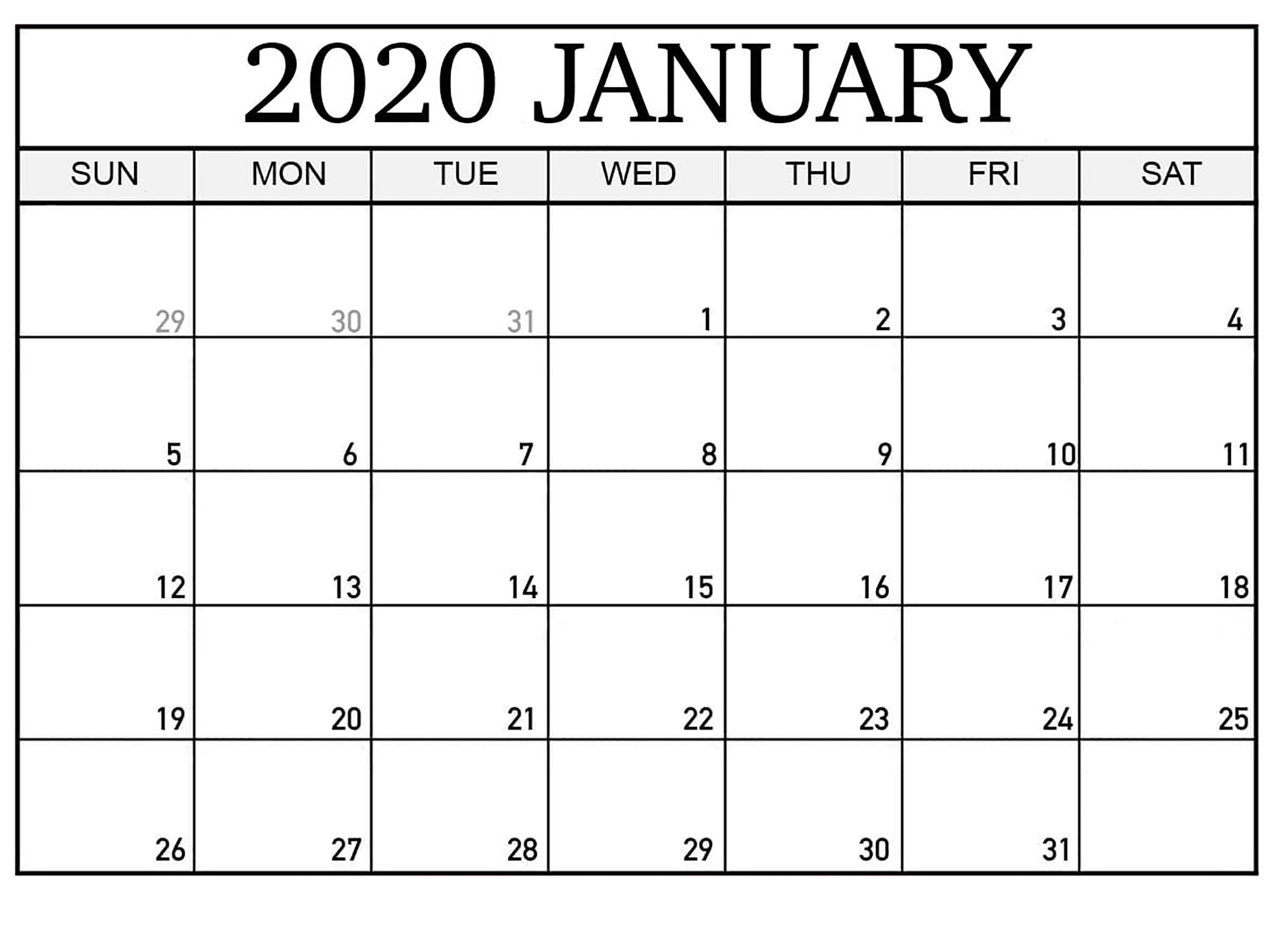 Top Blank January 2020 Holiday Print Free Calendar pertaining to Wincalendar January 2020