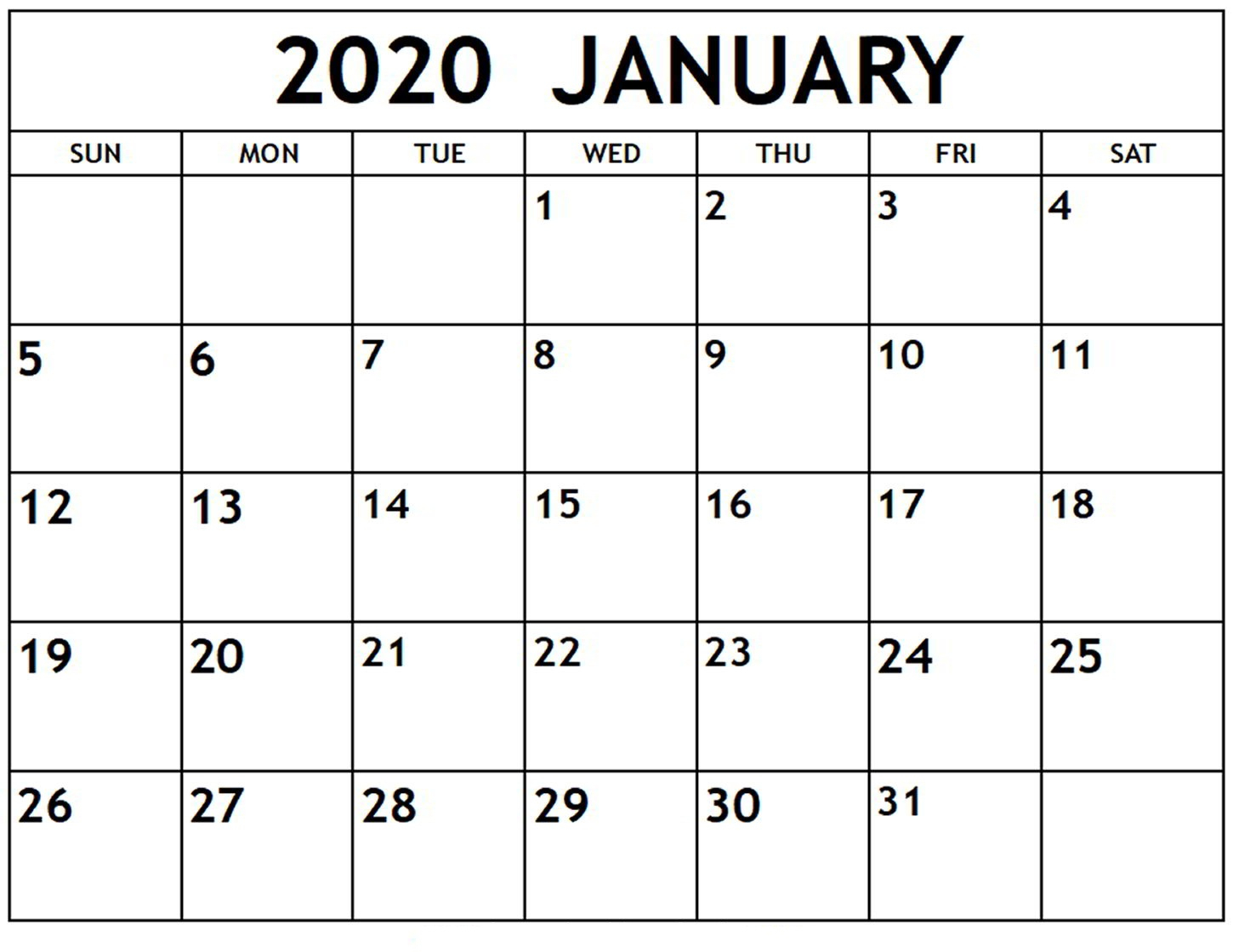 Top Blank January 2020 Holiday Print Free Calendar with January 2020 Calendar Blank
