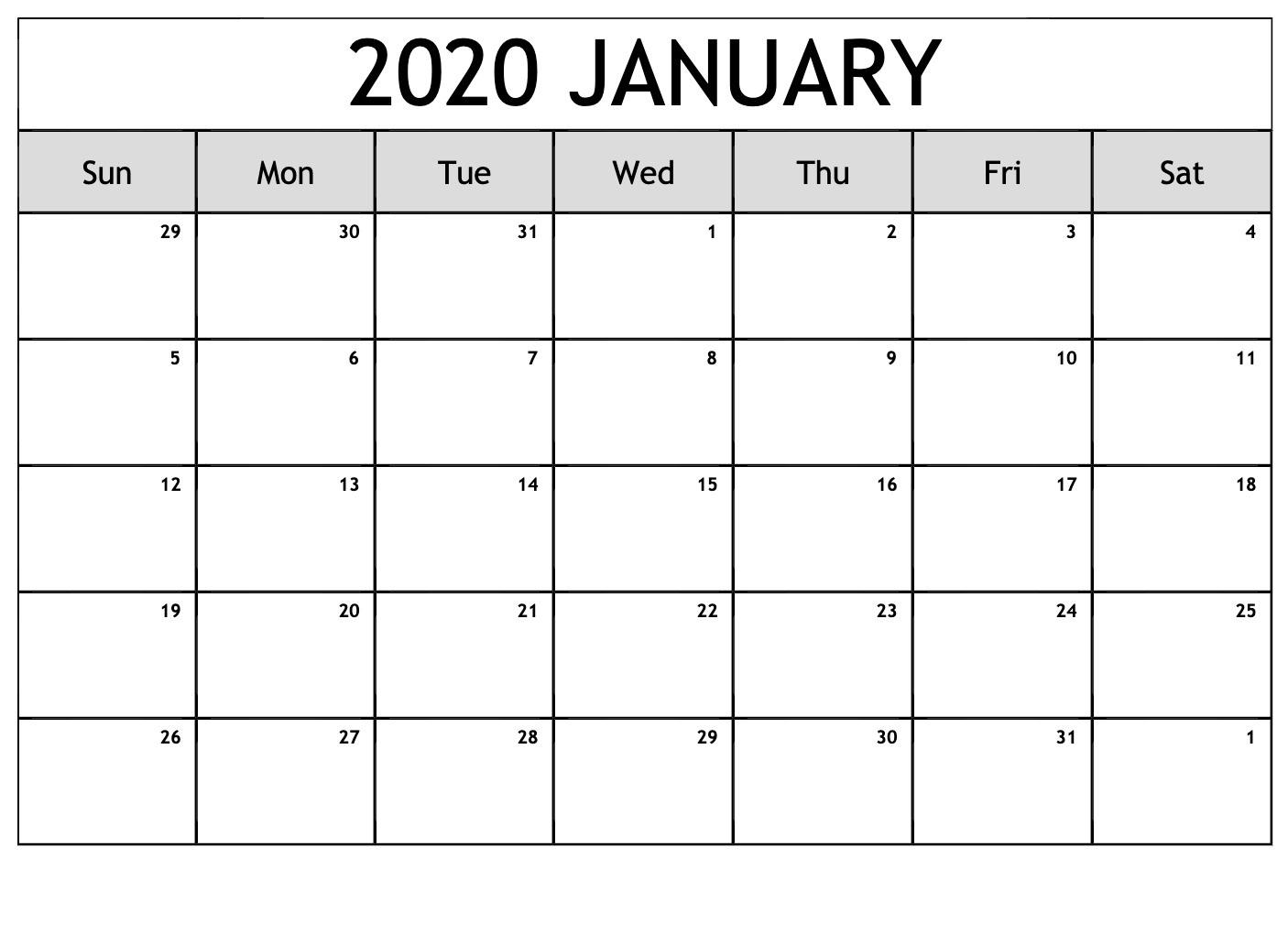 Top Blank January 2020 Holiday Print Free Calendar with regard to Wincalendar January 2020