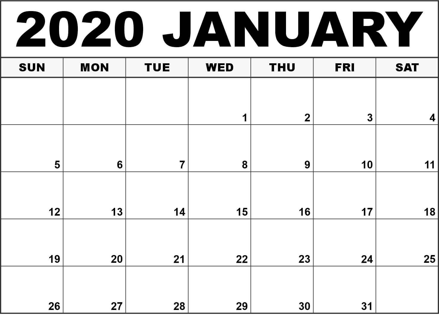 Top Blank January 2020 Holiday Print Free Calendar with Wincalendar January 2020