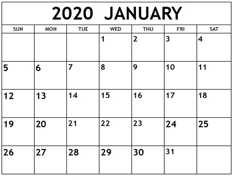 Top Blank January 2020 Holiday Print Free Calendar within Wincalendar January 2020
