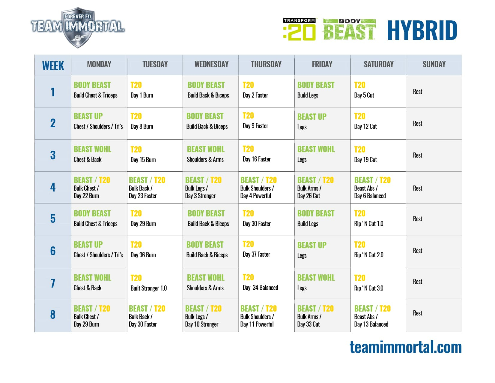 Transform 20 Body Beast Hybrid | Team Immortal | Forever Fit inside Body Beast Hybrid Calendar