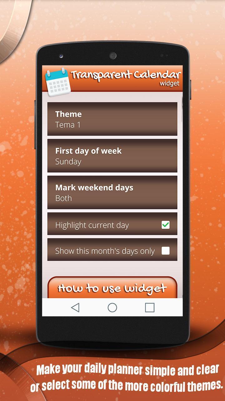 Transparent Calendar Widget For Android  Apk Download with Transparent Calendar Widget