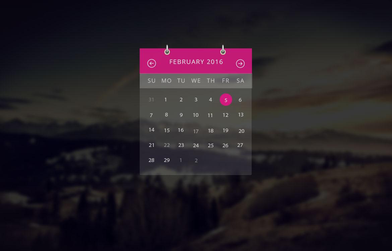 Transparent Calendar Widget Ui Free Psd  Download Psd with regard to Transparent Calendar Widget