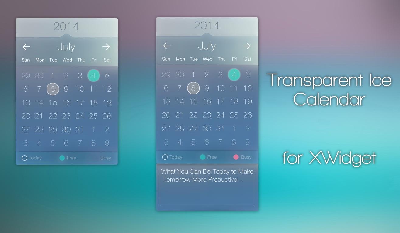 Transparent Ice Calendar For Xwidget By Jimking On Deviantart within Transparent Calendar Widget