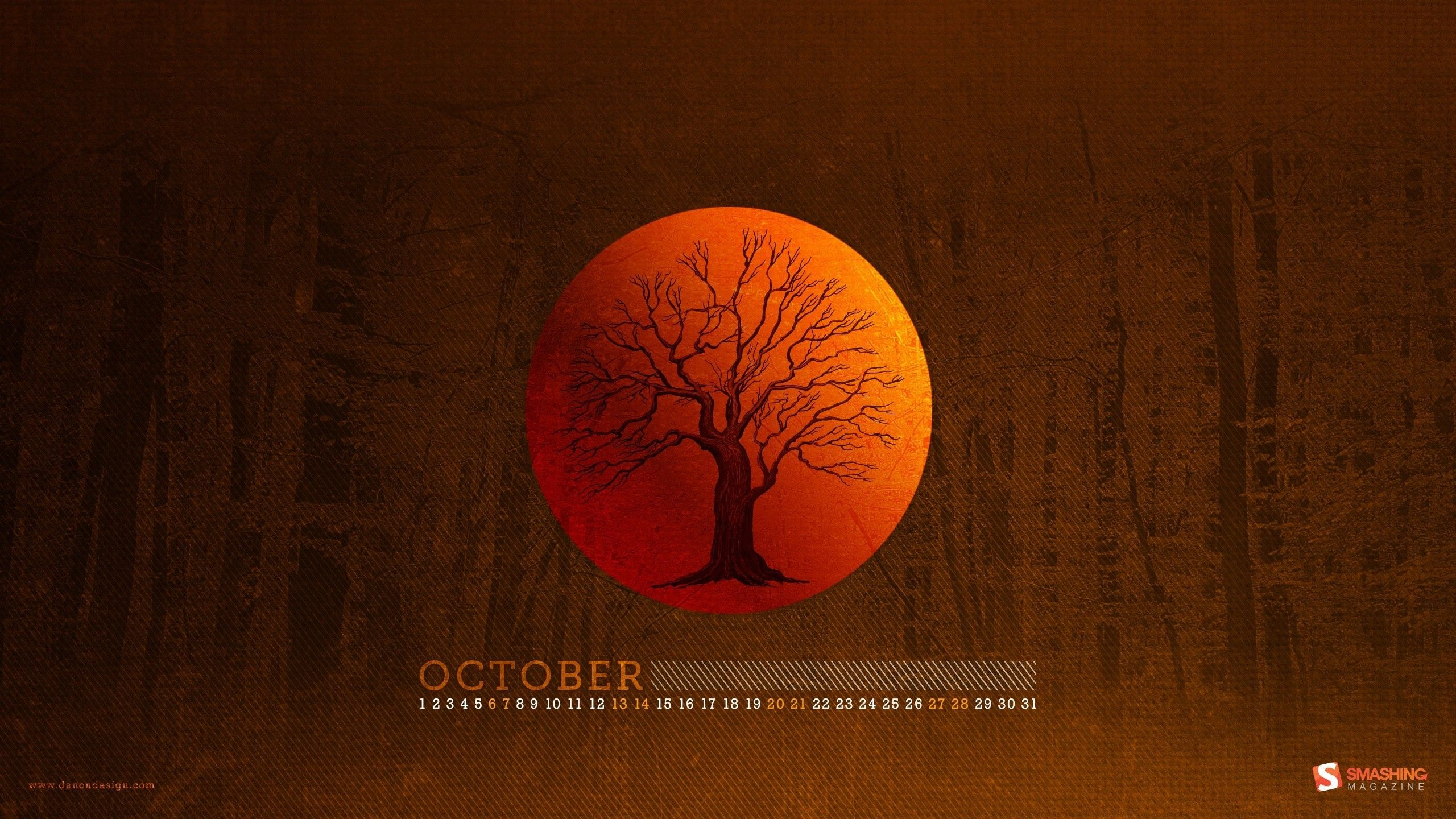Trees Forest Moon Woods Calendar October Smashing Magazine within Smashing Magazine Calendar