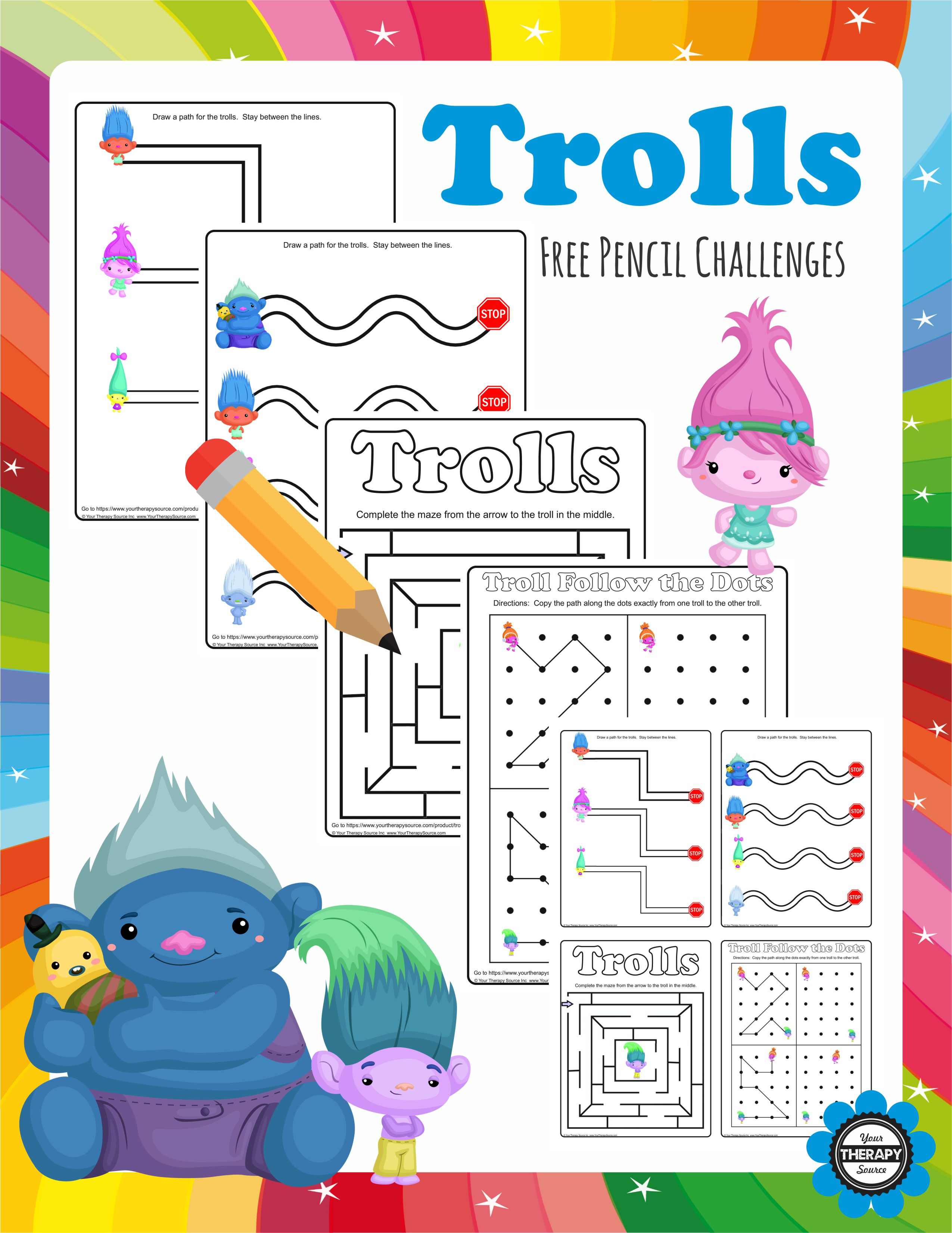 Trolls Pencil Challenges  Free!  Your Therapy Source with regard to Your Therapy Source Free