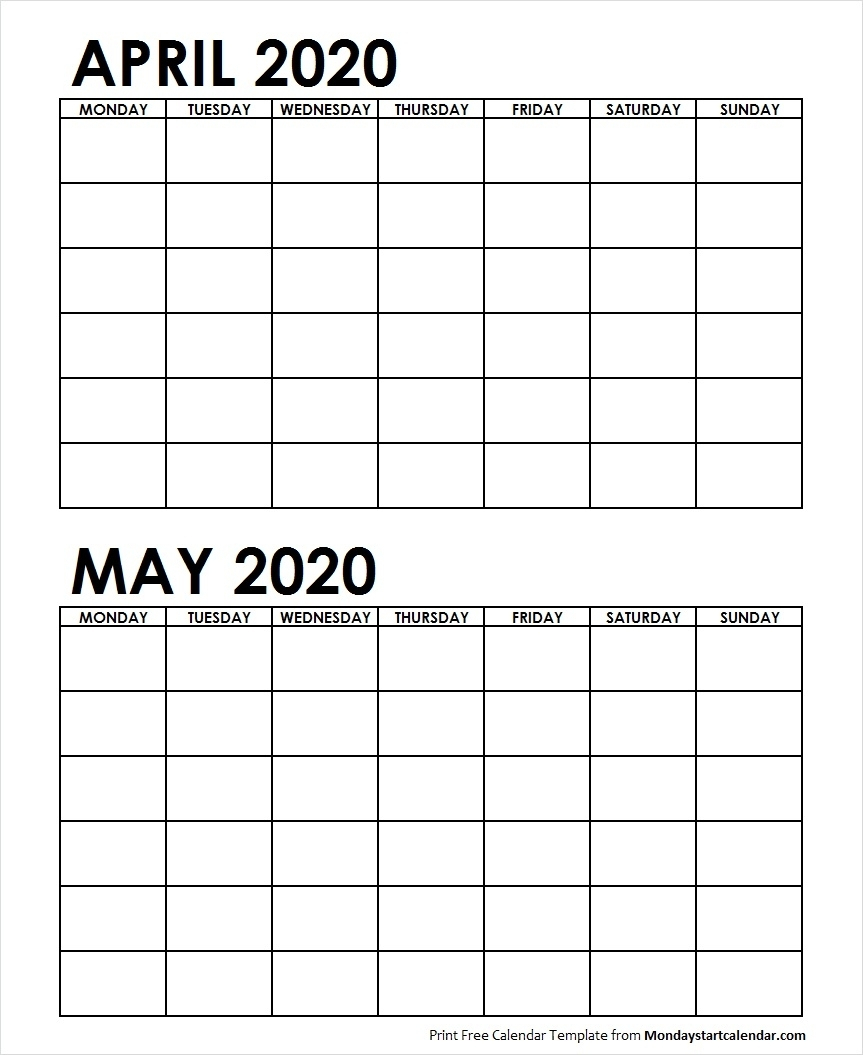 Two Month April May 2020 Calendar Blank | Two Months with Blank 2 Month Calendar