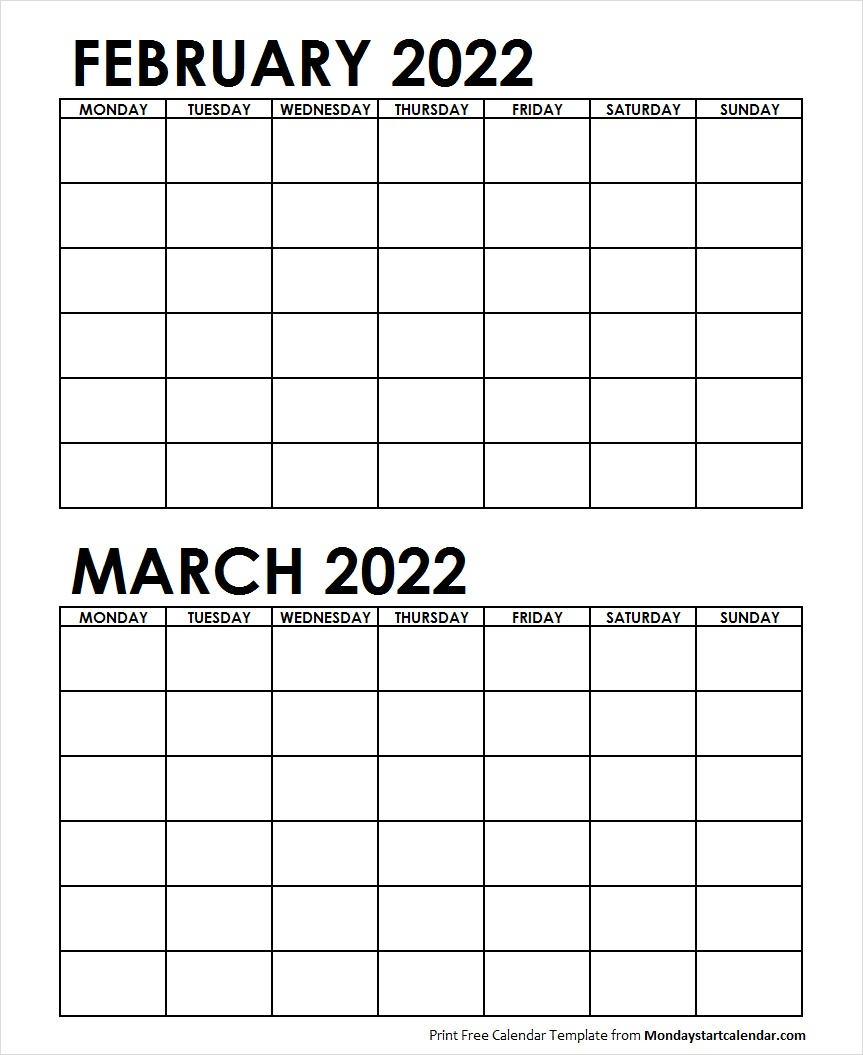 Two Month February March 2022 Calendar Blank | Two Months in Two Month Calendar Template